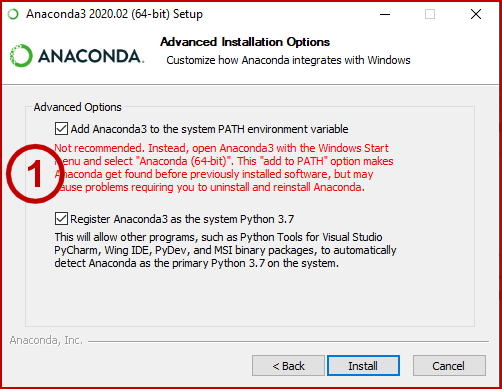 Pick the 'Not recommended' Anaconda Install Option
