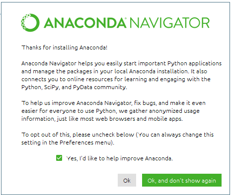 Initial Anaconda Navigator Splash Screen