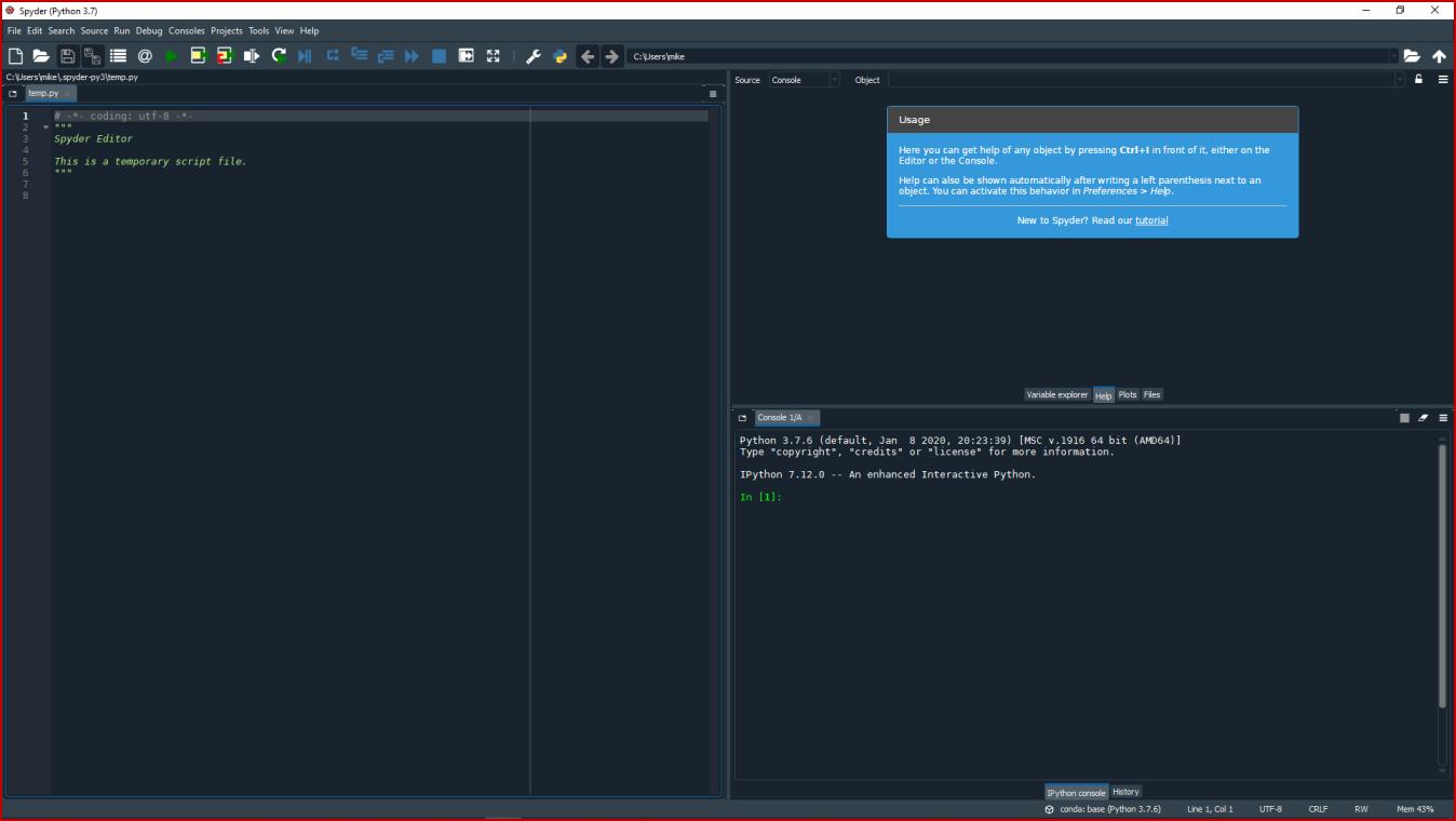 Main Default Spyder Screen