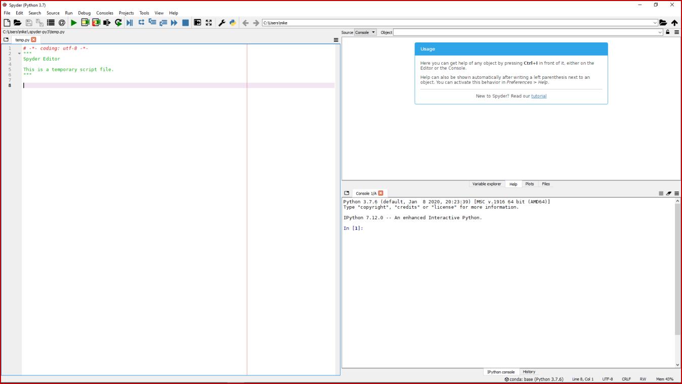Main Default Spyder Screen - IDLE Theme